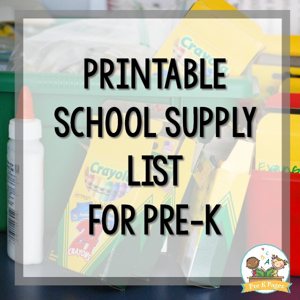Printable School Supply List For Preschool