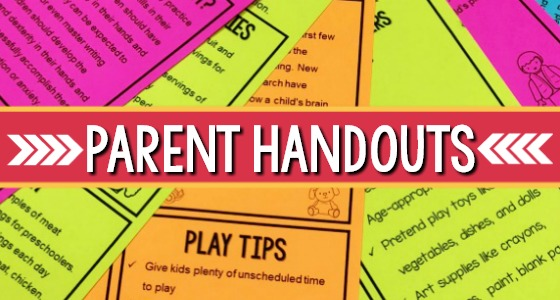 Preschool Handouts For Parent Conferences, Back To School And More