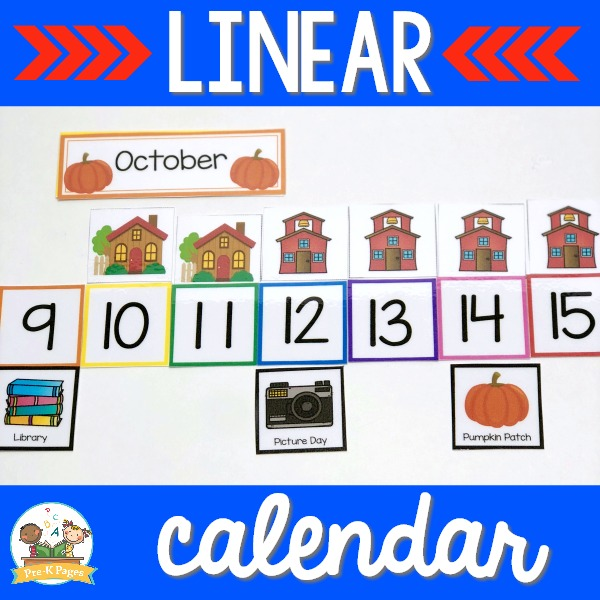 Linear Calendar Number Line in Preschool