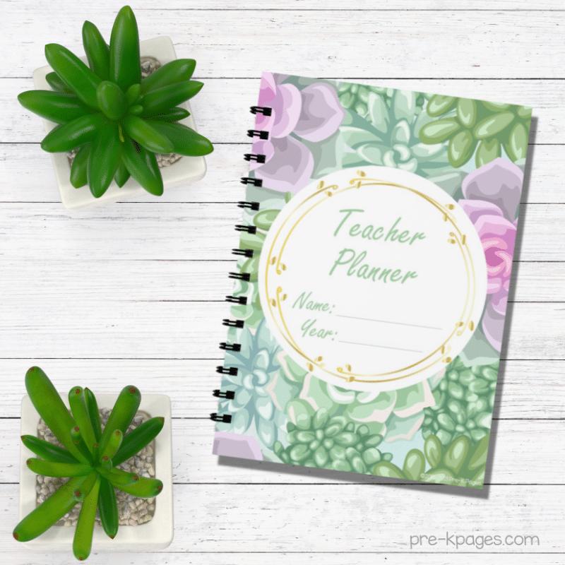 Printable Succulent Theme Teacher Planner