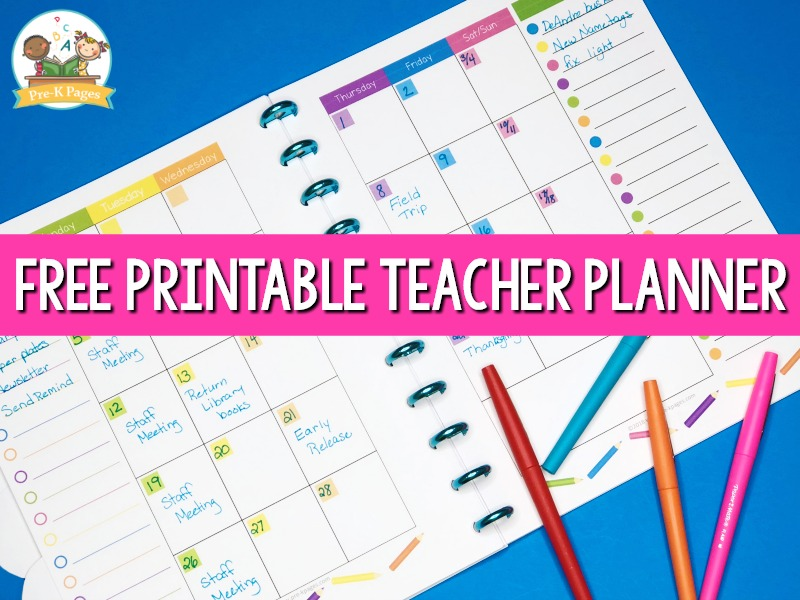 photograph regarding Free Preschool Calendar Printables identify Instructor Planner for Preschool No cost Printable - Pre-K Webpages