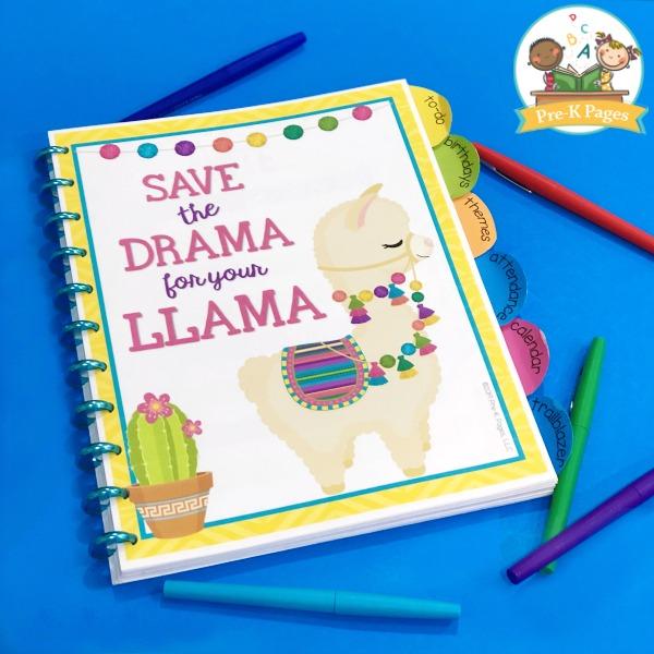 Printable Teacher Planner Llama Theme