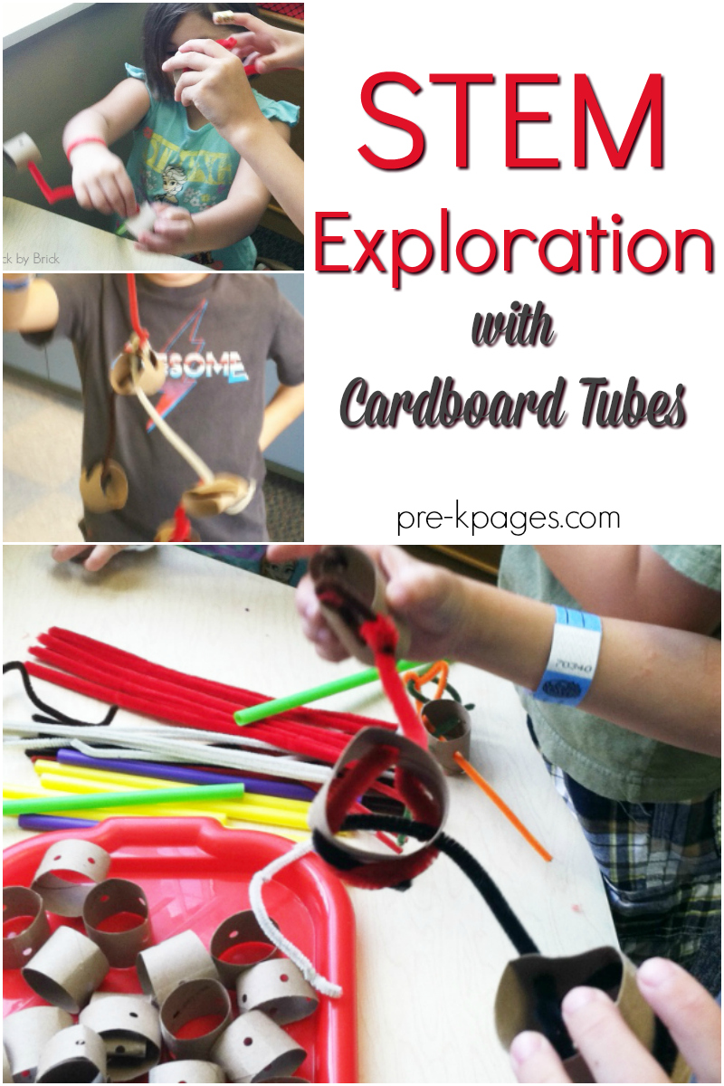STEM exploration with cardboard tubes for preschool