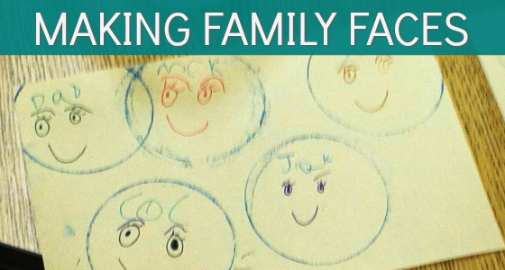Family Faces from Stamped Circles