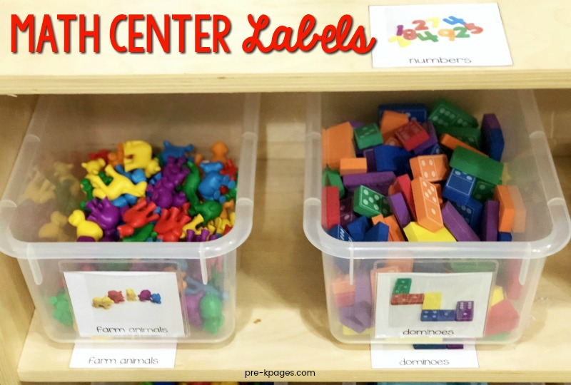 Math Center Labels for Preschool
