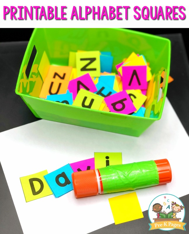 Printable Alphabet Squares for Preschool Art Center