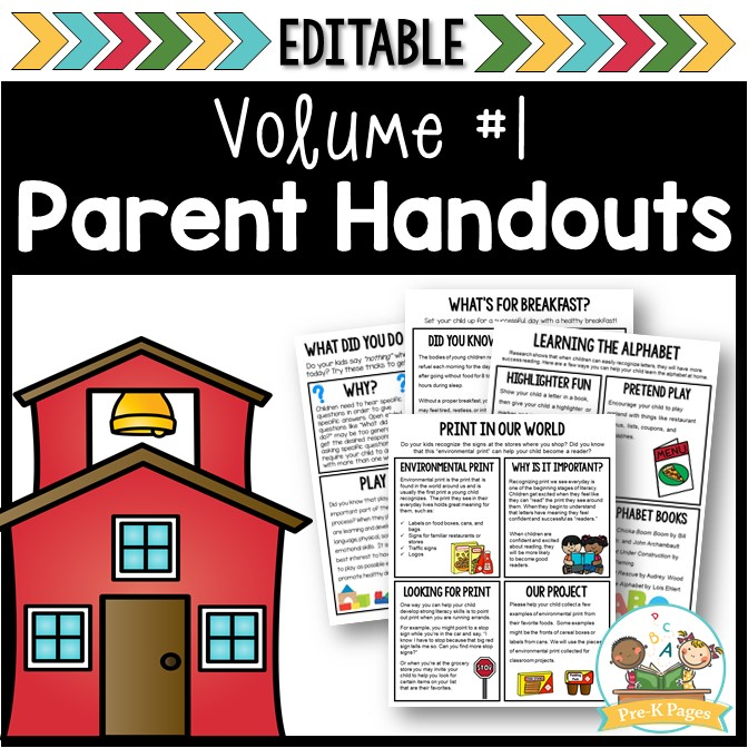 Editable Parent Notes Letters Handouts for Preschool