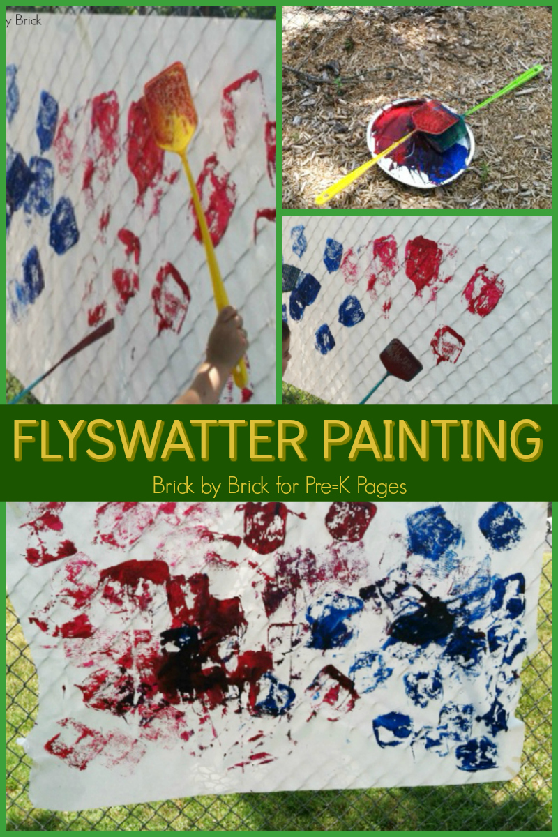 painting with flyswatters for preschool