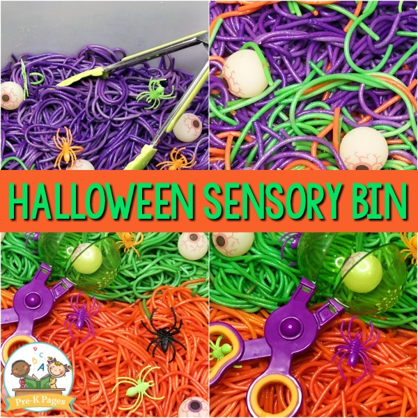 Colored Spaghetti Eyeball Halloween Sensory Bin