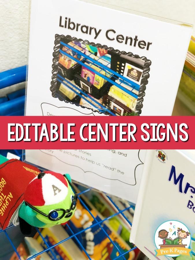 Editable Center Signs For Preschool Pre K And Kindergarten