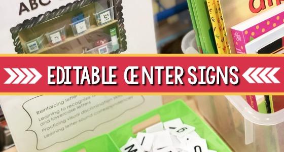 Editable Center Signs for Preschool