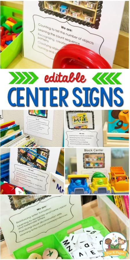 Preschool Center Signs Editable