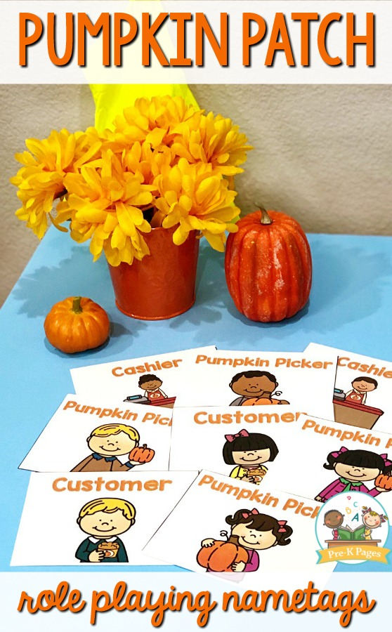 Pumpkin Patch Dramatic Play Nametags