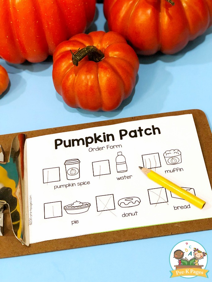 Pumpkin Patch Dramatic Play Order Forms