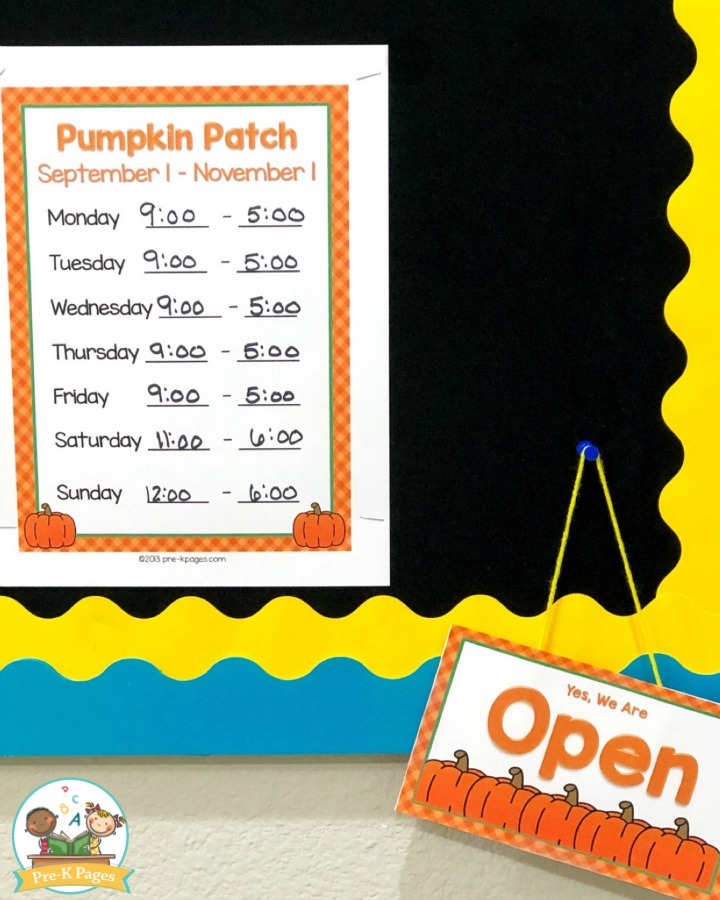 Pumpkin Patch Dramatic Play Printables