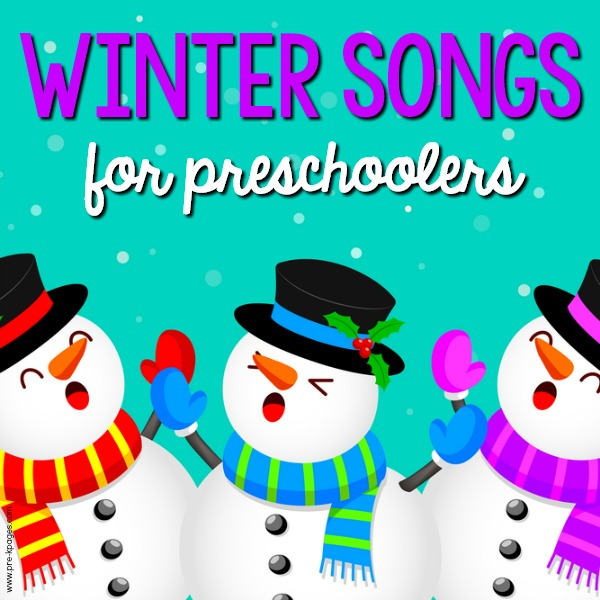 Best Winter Songs for Preschool Kids pin image with snowman singing