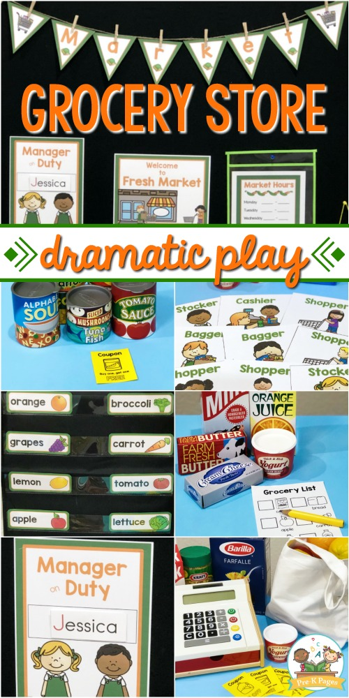 Grocery Store Dramatic Play for Preschool