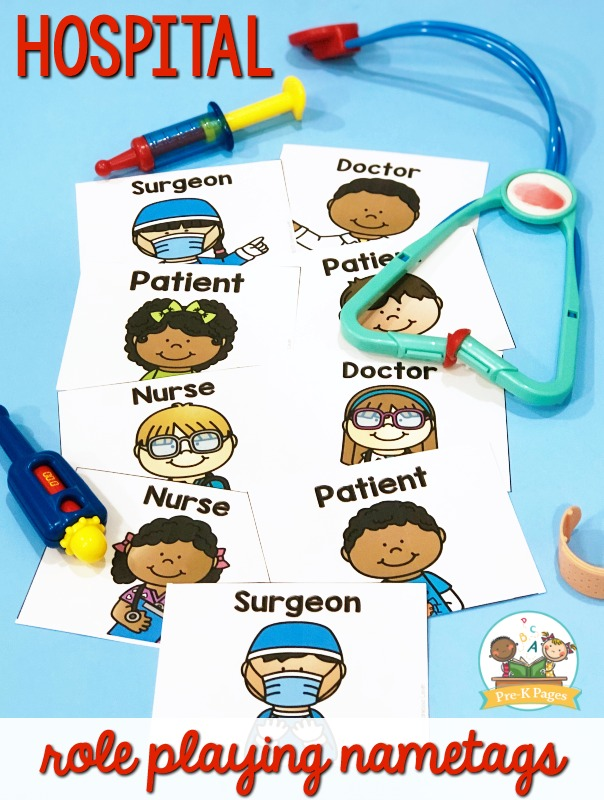 Hospital Theme Pretend Play Nametags