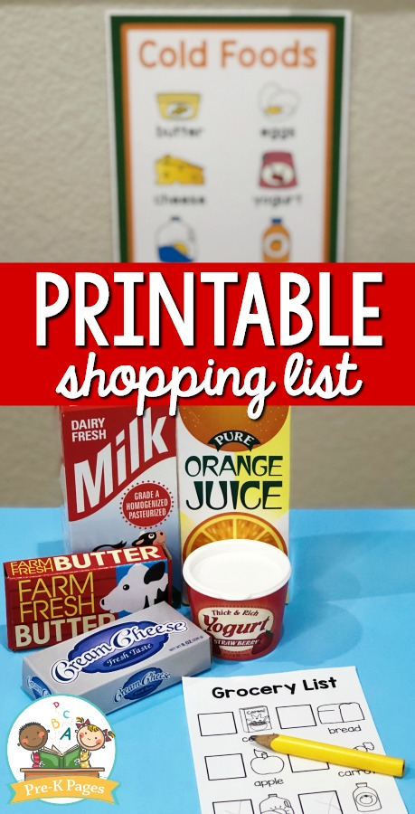 Printable Shopping List for Dramatic Play