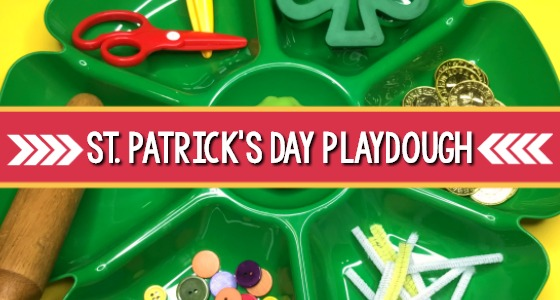 St. Patricks Day playdough tray
