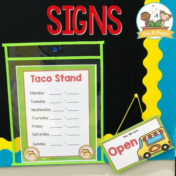 Taco Stand Dramatic Play Signs