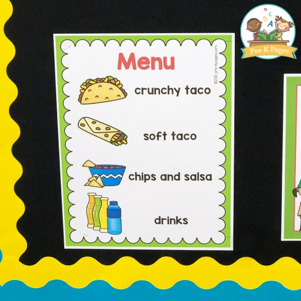 Taco Truck Menu Dramatic Play