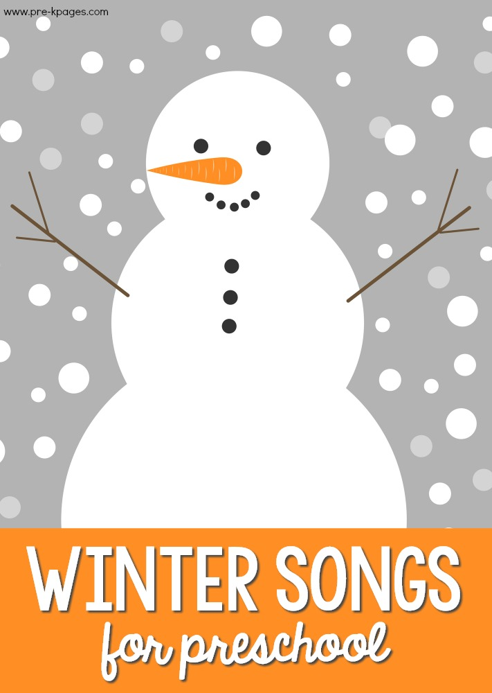Winter Music for Preschool pin image with a snowman on it