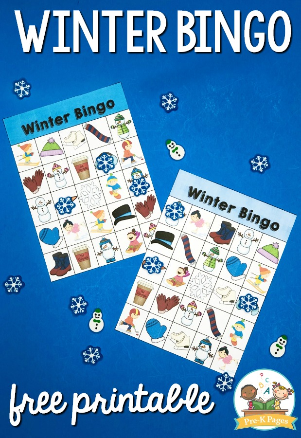 Printable Winter Bingo for Preschool