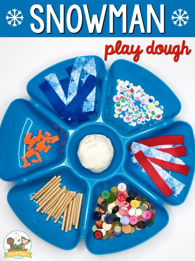 Snowman Play Dough Activity for Preschool
