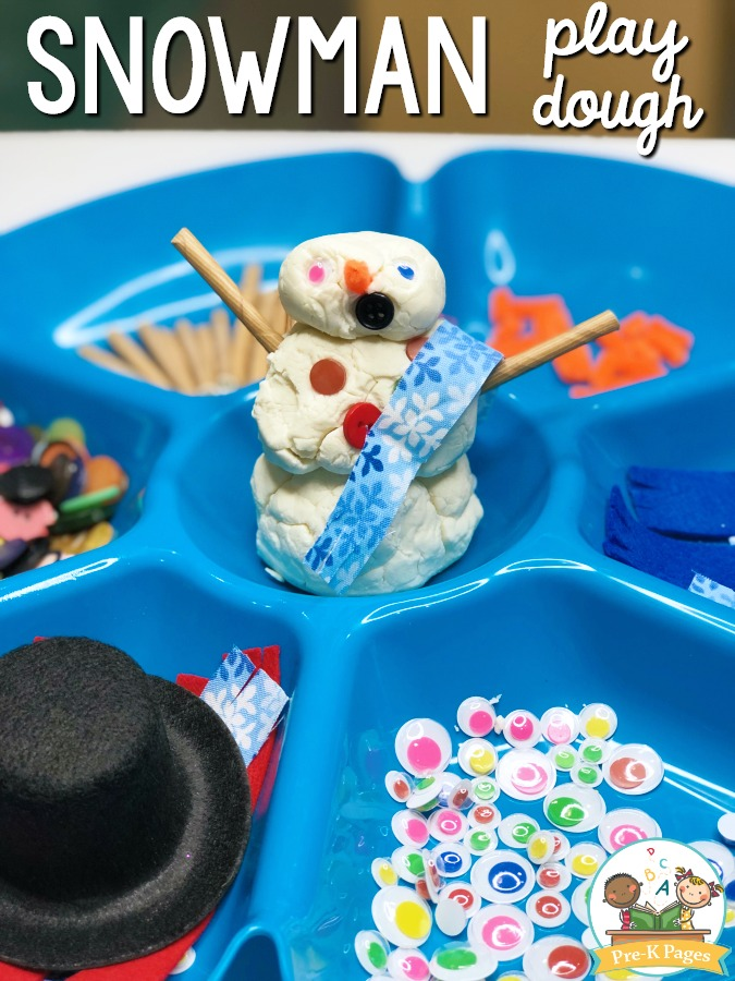 Snowman Play Dough Tray for Preschool