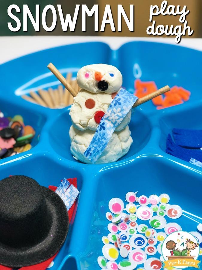 Snowman Play Dough Tray for Preschool