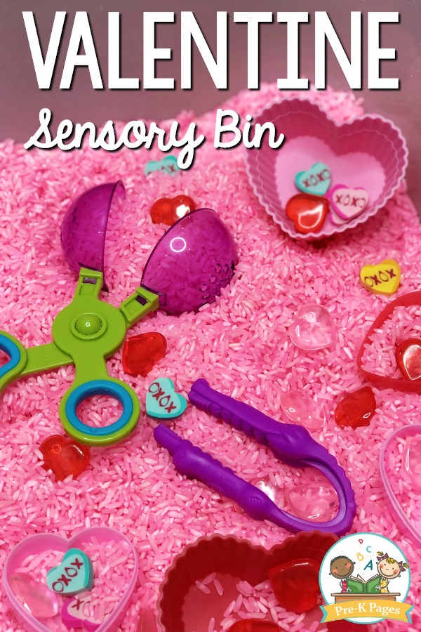 Valentine Sensory Bin for Preschool