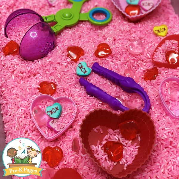 Valentine Sensory Bin with Mini Erasers