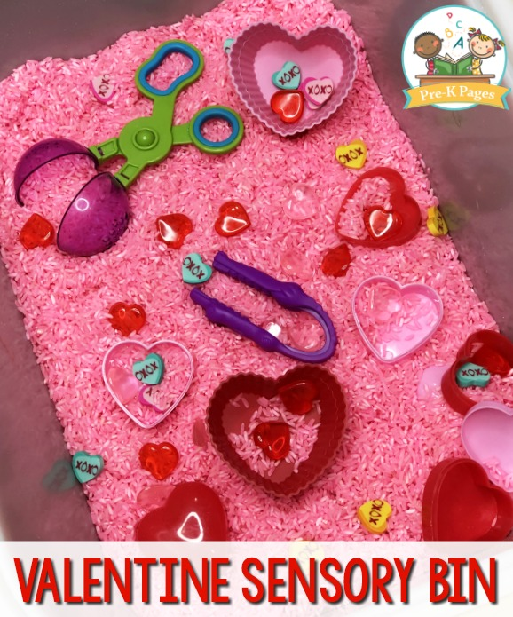 Valentine Sensory Bin with Pink Rice