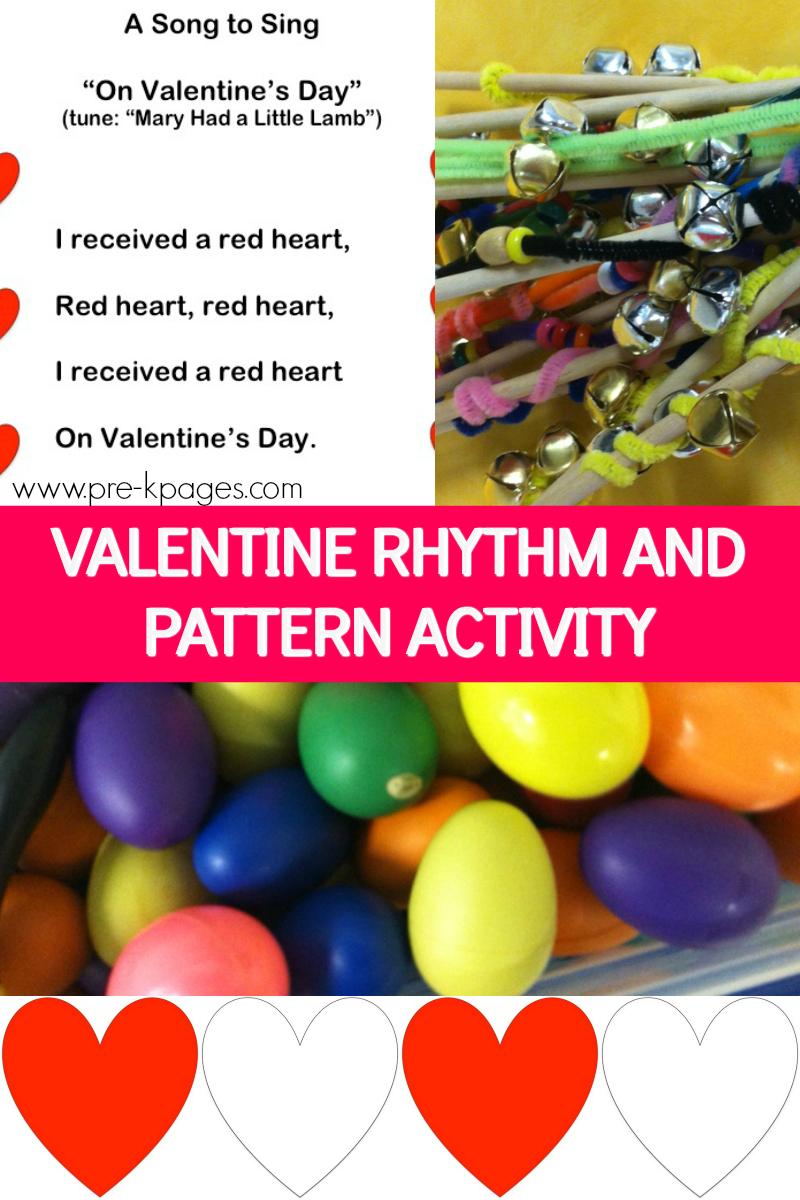 rhythm pattern valentine activity for preschool