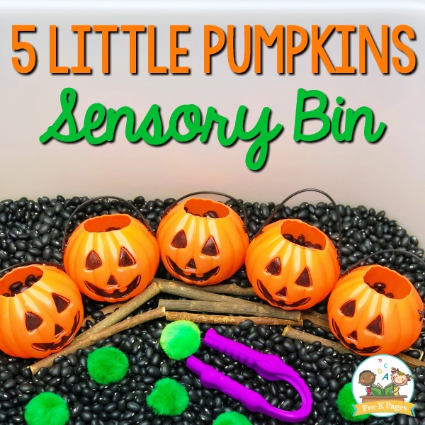 5 Little Pumpkins Halloween Sensory Bin for Preschool