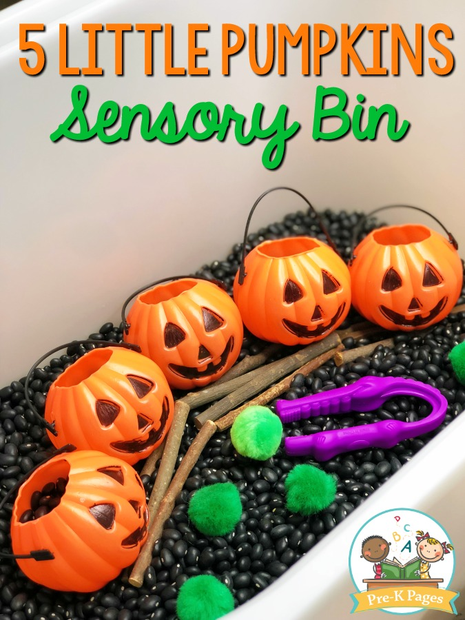5 Little Pumpkins Halloween Sensory Bin