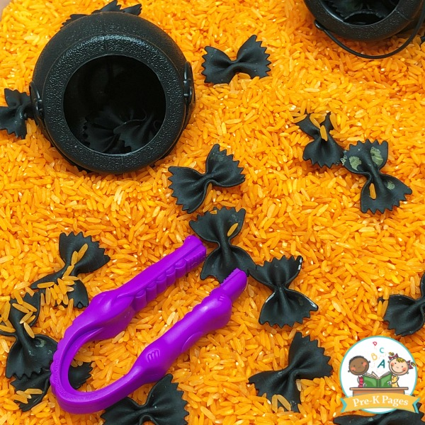 Black Bat Sensory Bin with Bowtie Pasta and Rice