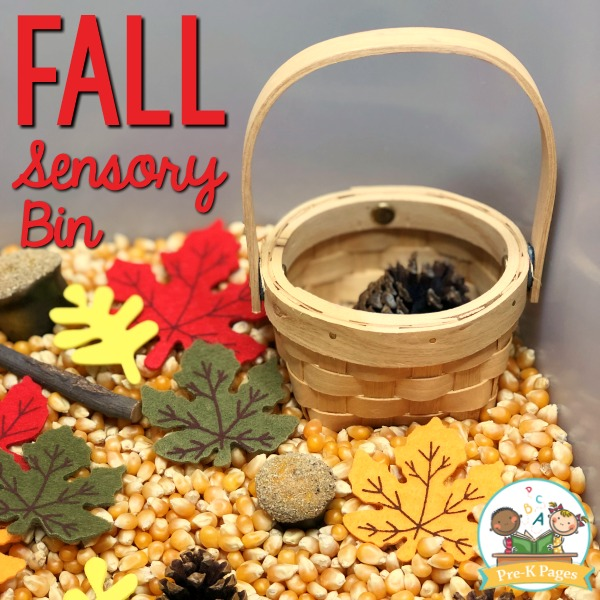 Fall Theme Sensory Bin with corn