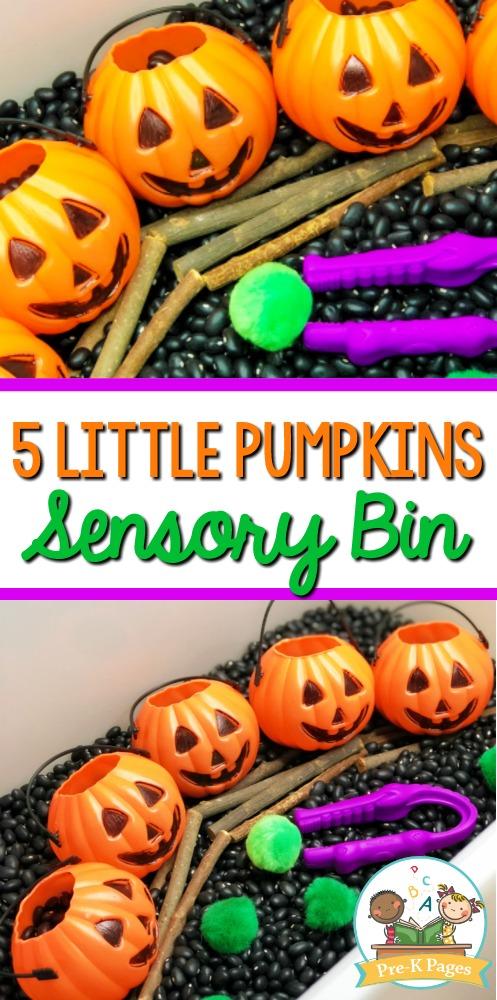 Five Little Pumpkins Sensory Table Idea