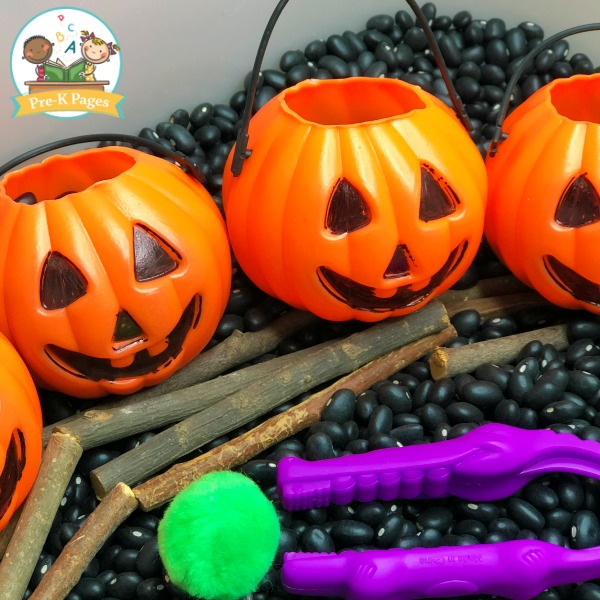Halloween Sensory Bin with Black Beans
