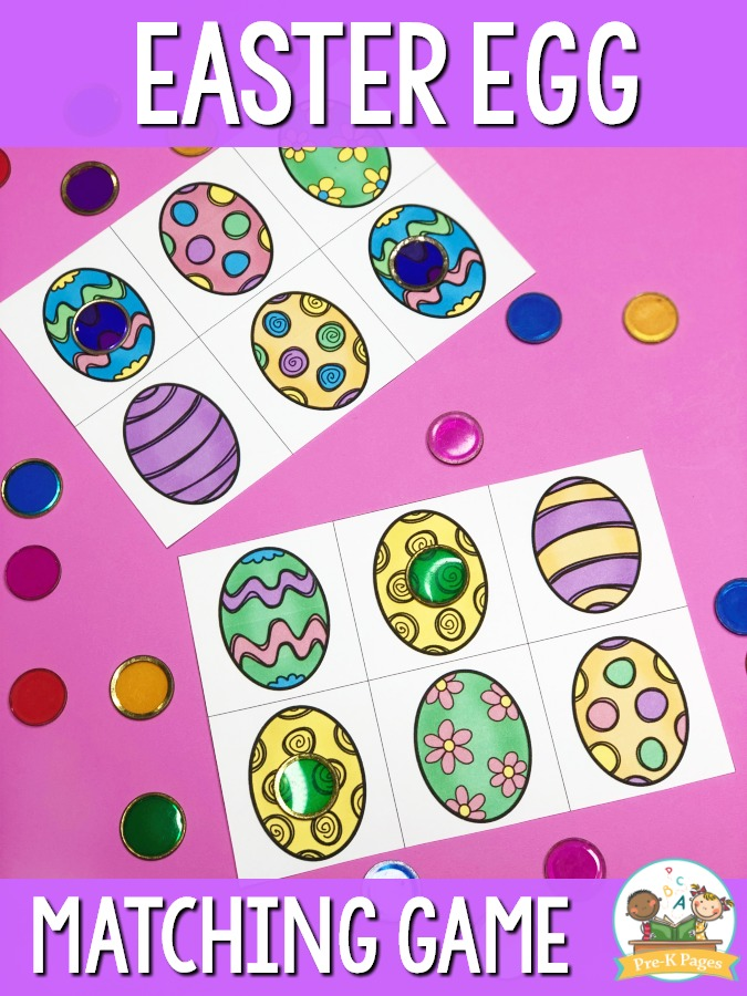 Preschool Easter Egg Matching Game