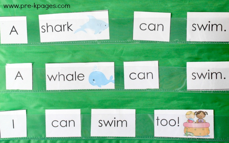 Ocean Theme Pocket Chart Sentences