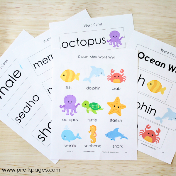 Ocean Theme Vocabulary Word Cards