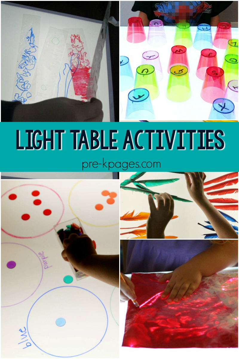 light table activities for preschool
