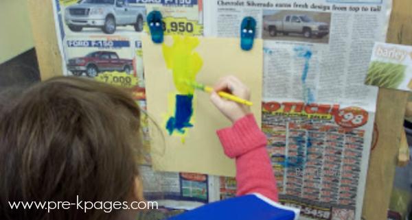 easel painting preschoolers