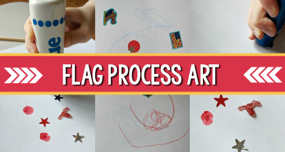 Patriotic or Flag Process Art Activity for Preschool