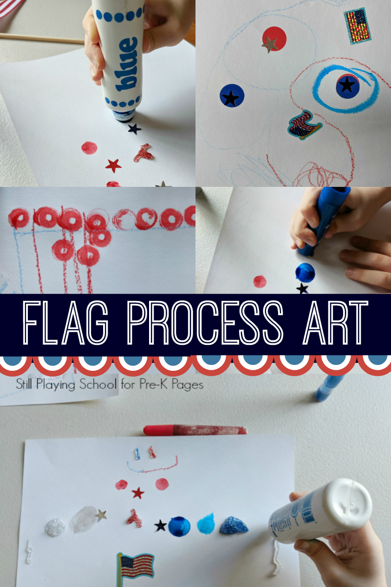 flag process art preschool patriotic