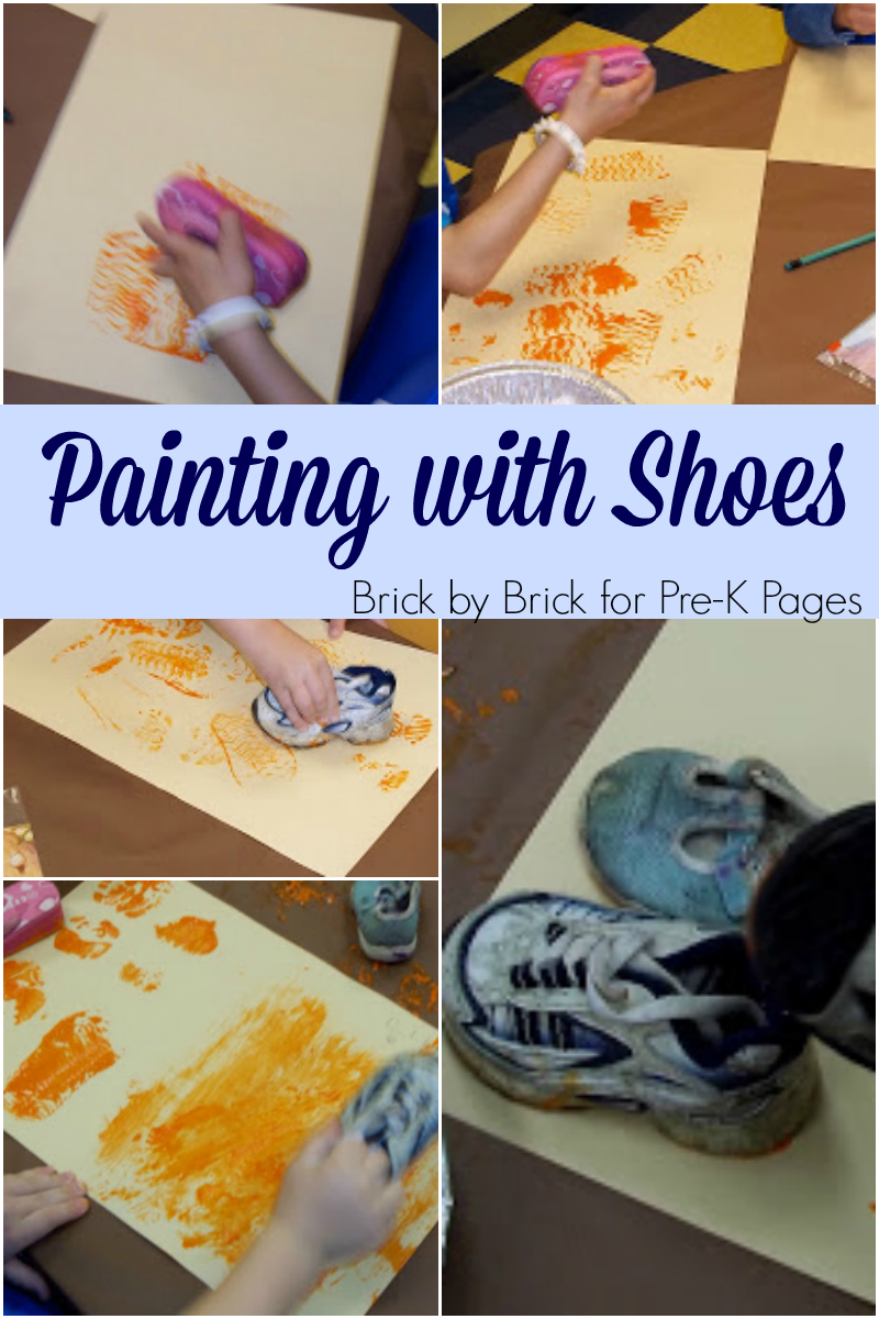 painting with shoes for preschool