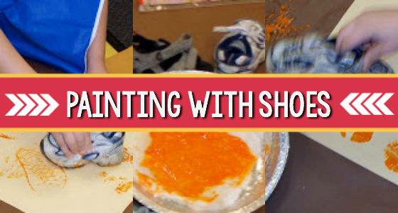 painting with shoes pre-k
